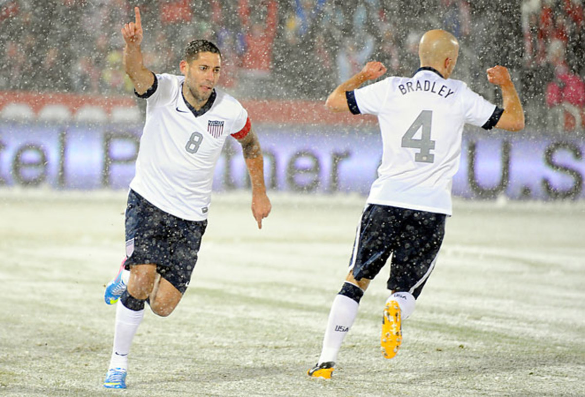 Clint Dempsey celebrates his goal, which put the U.S. up 1-0 against Costa Rica in Commerce City.