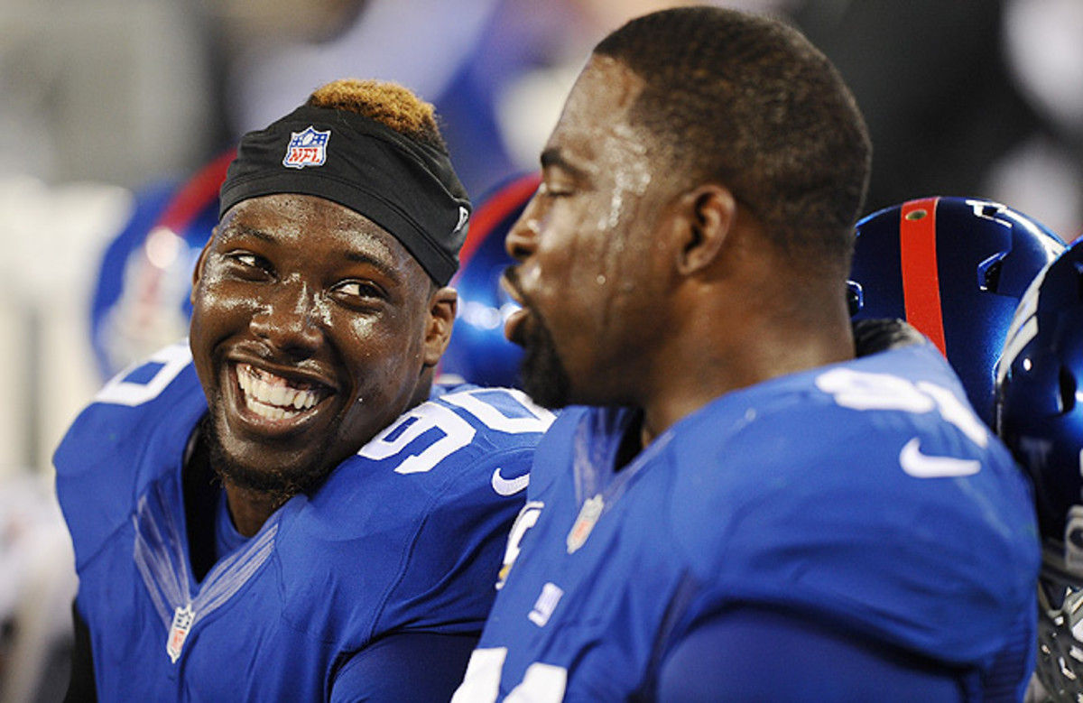 Things are looking up for Jason Pierre-Paul (left) and the Giants, winners of four straight games.