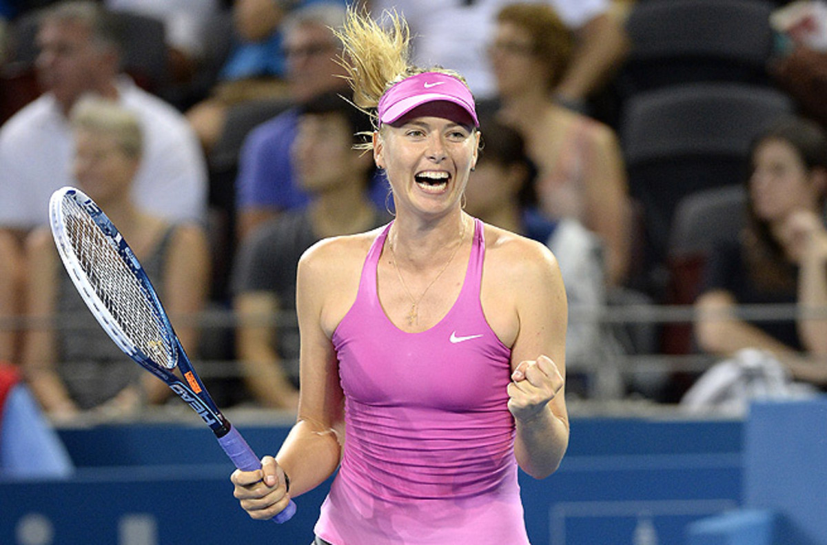 Maria Sharapova returned to the tour with a dominant 6-3, 6-0 win over France's Caroline Garcia.