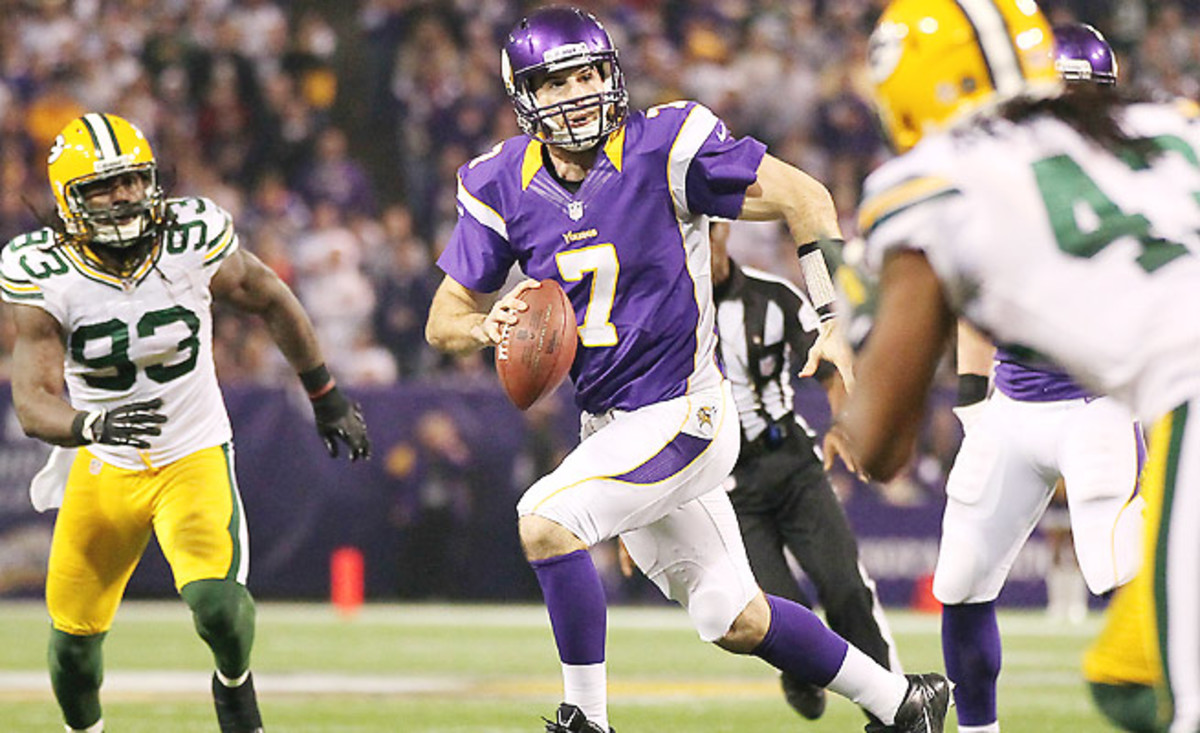 Christian Ponder played his best game against the Packers last year, throwing for three scores.