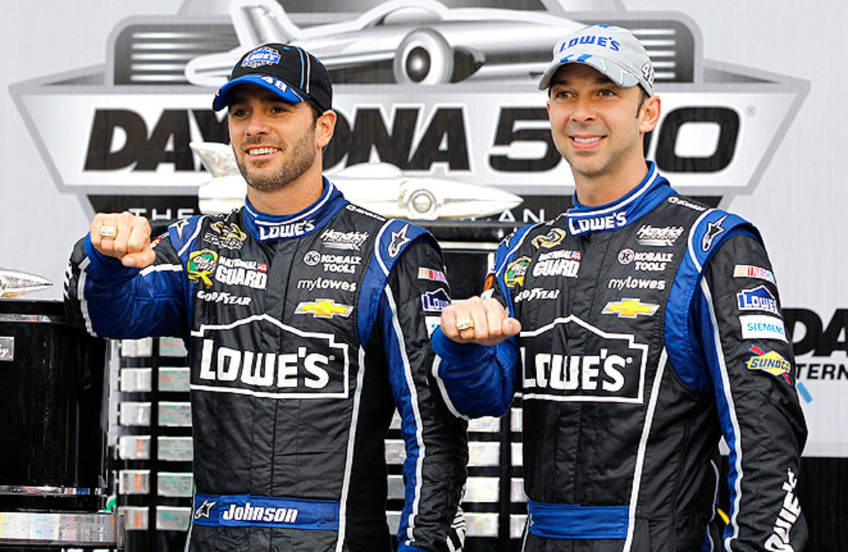 Jimmie Johnson and crew chief Chad Knaus have a reason to celebrate after winning the 2013 Daytona 500.