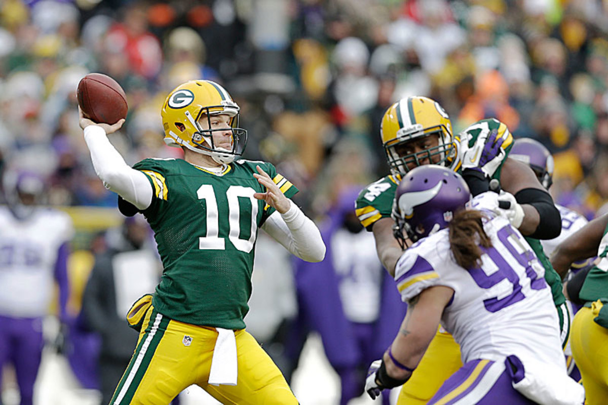 After a three-team sojourn around the NFL, Flynn returned to Lambeau and pulled the Packers back from 23-7 down to tie the Vikings. (Tom Lynn /Getty Images)