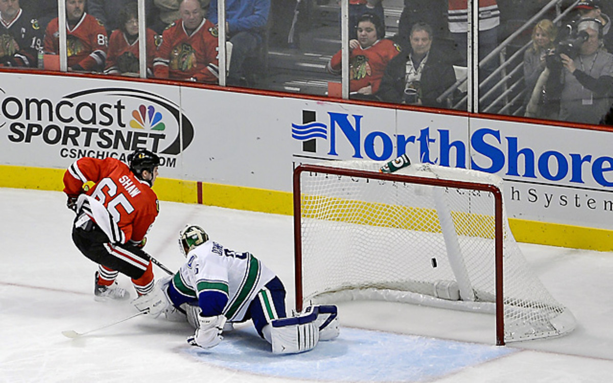 After Vancouver scored twice in the final 2:42, Andrew Shaw beat Cory Schneider for the game-winner. (Warren Wimmer/Icon SMI)