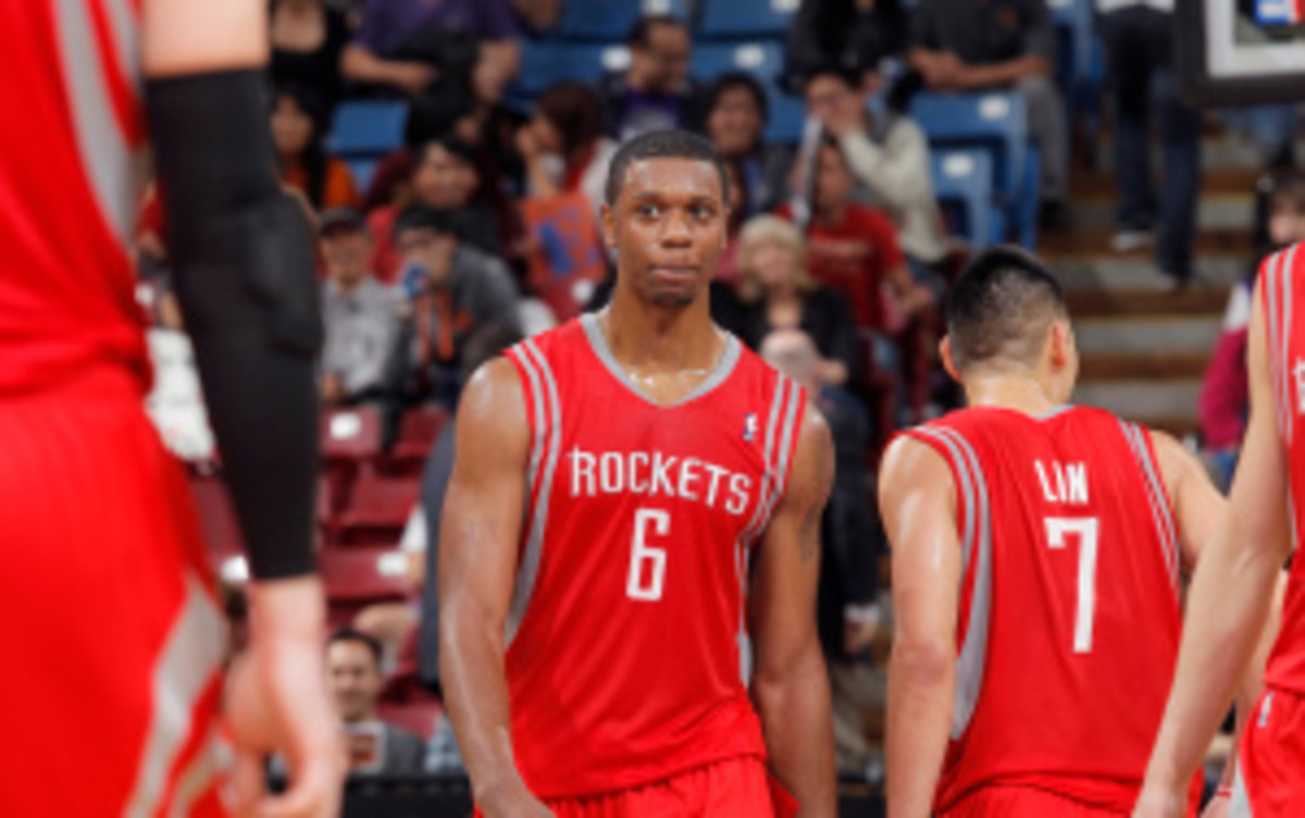 Houston Rockets forward Terrence Jones was arrested early Wednesday morning after allegedly stomping on a homeless man in Portland. (Rocky Widner/Getty Images)