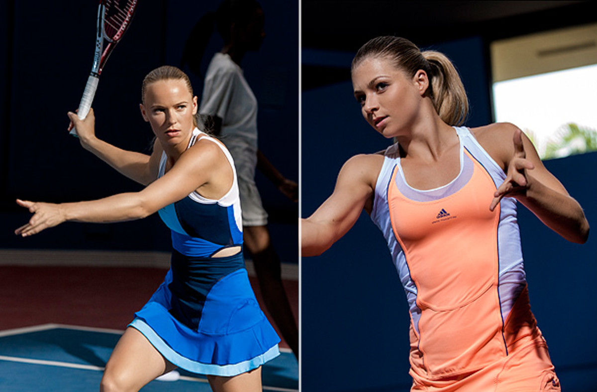 Caroline Wozniacki (left) and Maria Kirilenko show off their U.S. Open outifts.