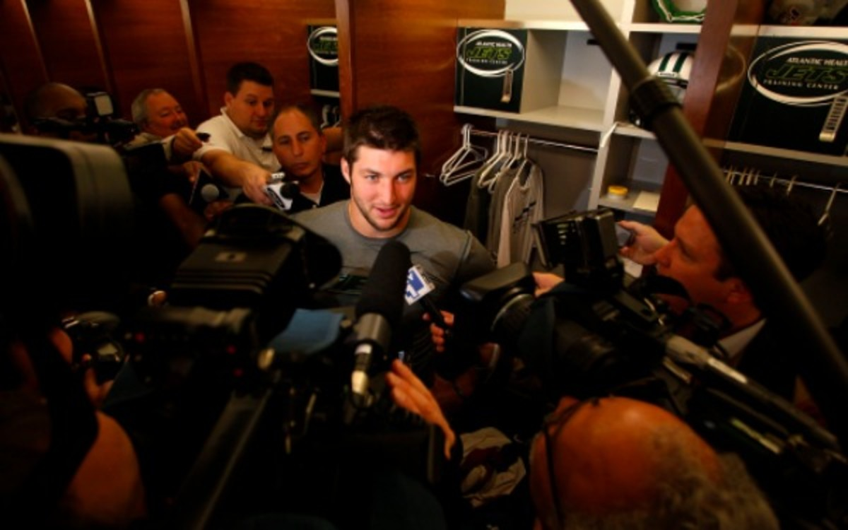 Scenes like this are why some NFL teams may be shying away from Tim Tebow. (Jeff Zelevansky/Getty Images)