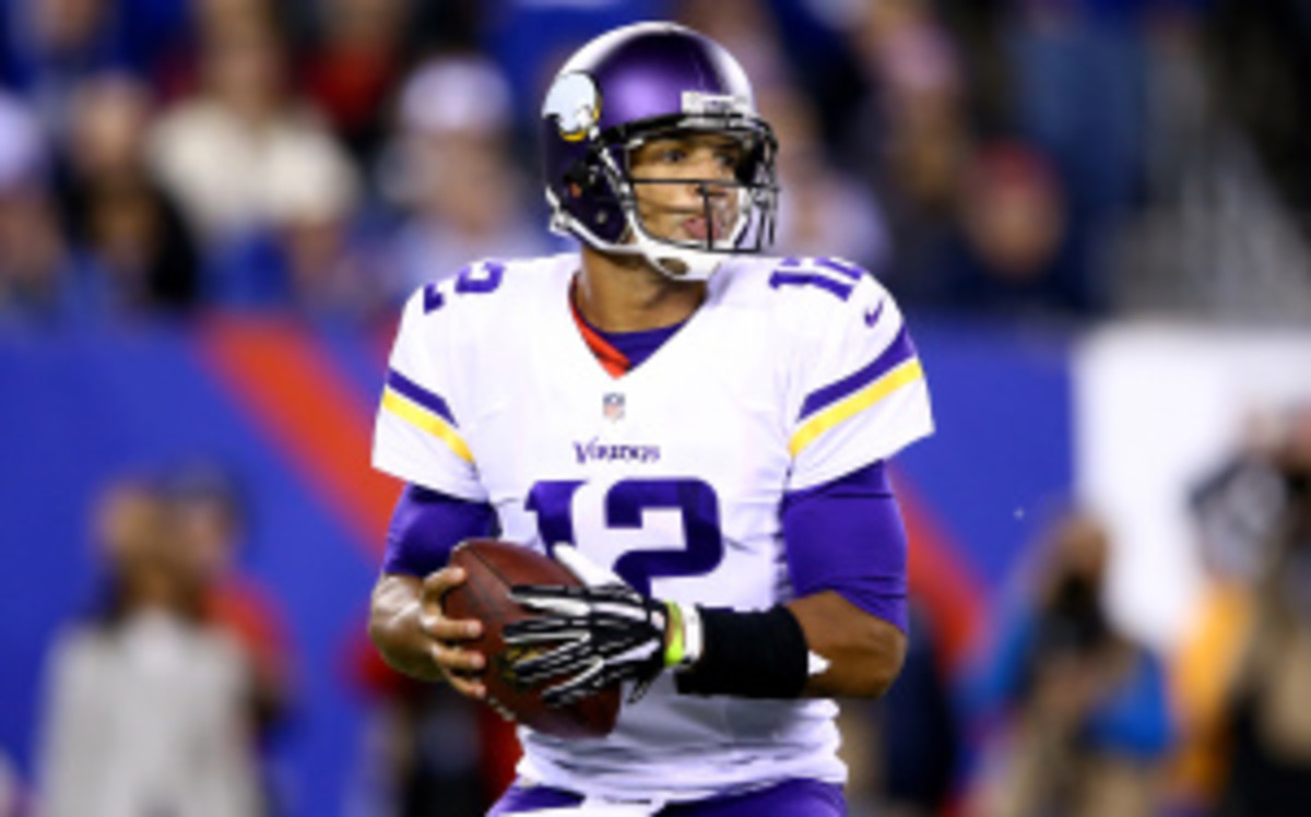 Vikings QB Josh Freeman will get the start on Sunday vs. the Packers despite an historically bad performance in his debut with the team in Monday's loss to the Giants. (Al Bello/Getty Images)
