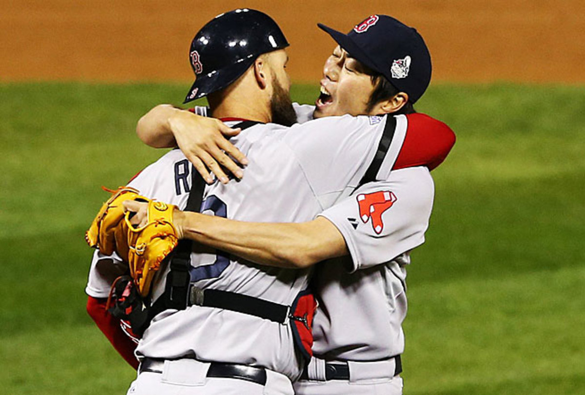 Koji Uehara's talent and emotions make up for his language barrier with teammates like David Ross.