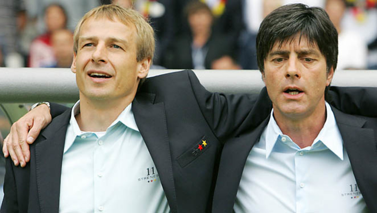 Joachim Loew (right) was on Jurgen Klinsmann's staff when he coached the German team.