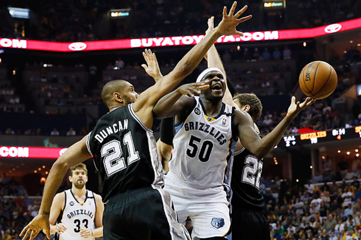 Zach Randolph found many of his scoring angles blocked against the Spurs in the West finals. (Kevin C. Cox/Getty Images)
