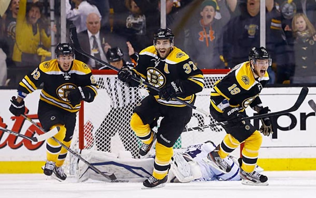 Patrice Bergeron of the Boston Bruins eliminates the Maple Leafs in Toronto's epic 2013 Game 7 playoff collapse.