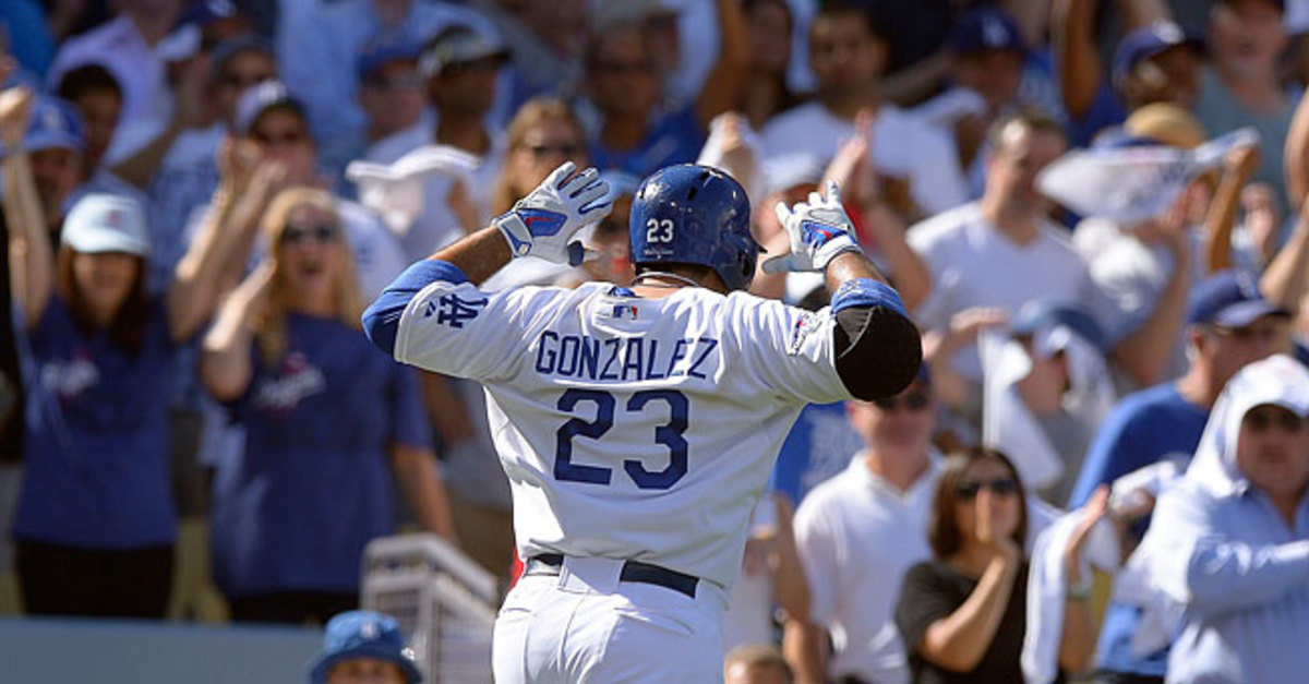 Adrian Gonzalez flashed Mickey Mouse ears after hitting the first of his two home runs in L.A.'s 6-4 win.