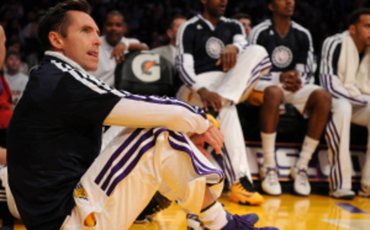 If Lakers guard Steve Nash hangs it up this year, Thunder point guard Derek Fisher would become the oldest active player in the NBA. (Lisa Blumenfeld/Getty Images)
