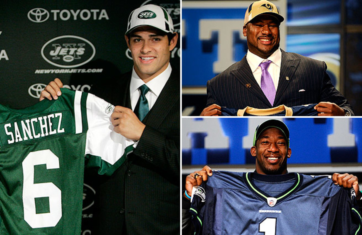 Mark Sanchez (left) has struggled, while fellow top-five picks Jason Smith (top right) and Aaron Curry are just trying to stay in the NFL.