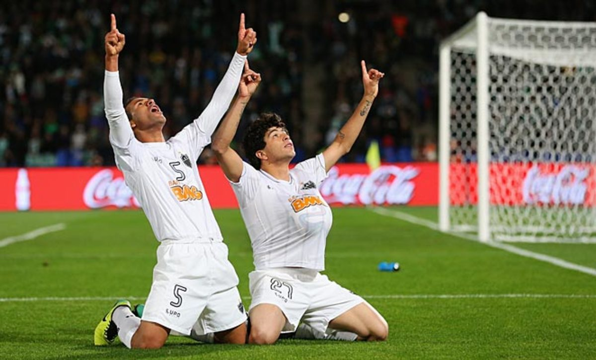 Luan (right) scored Atletico Mineiro's winning goal in stoppage time in the Club World Cup third place game.