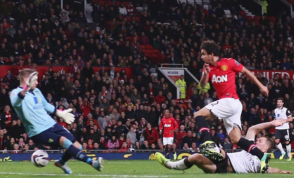 Fabio scored a rare goal as Manchester United defeated Norwich City 4-0 at Old Trafford.