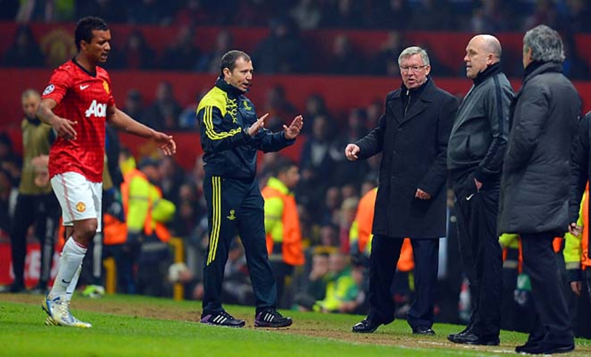 Manchester United's Nani (left) reacts after he is sent off against Real Madrid earlier this month.
