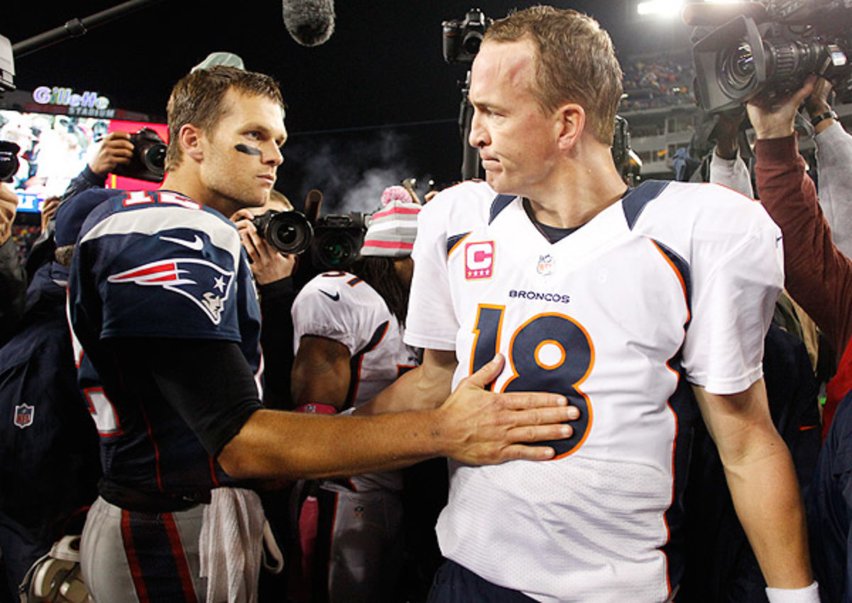 Tom Brady (left) owns a 9-4 record against Peyton Manning heading into Sunday night's showdown. (Winslow Townson/SI)