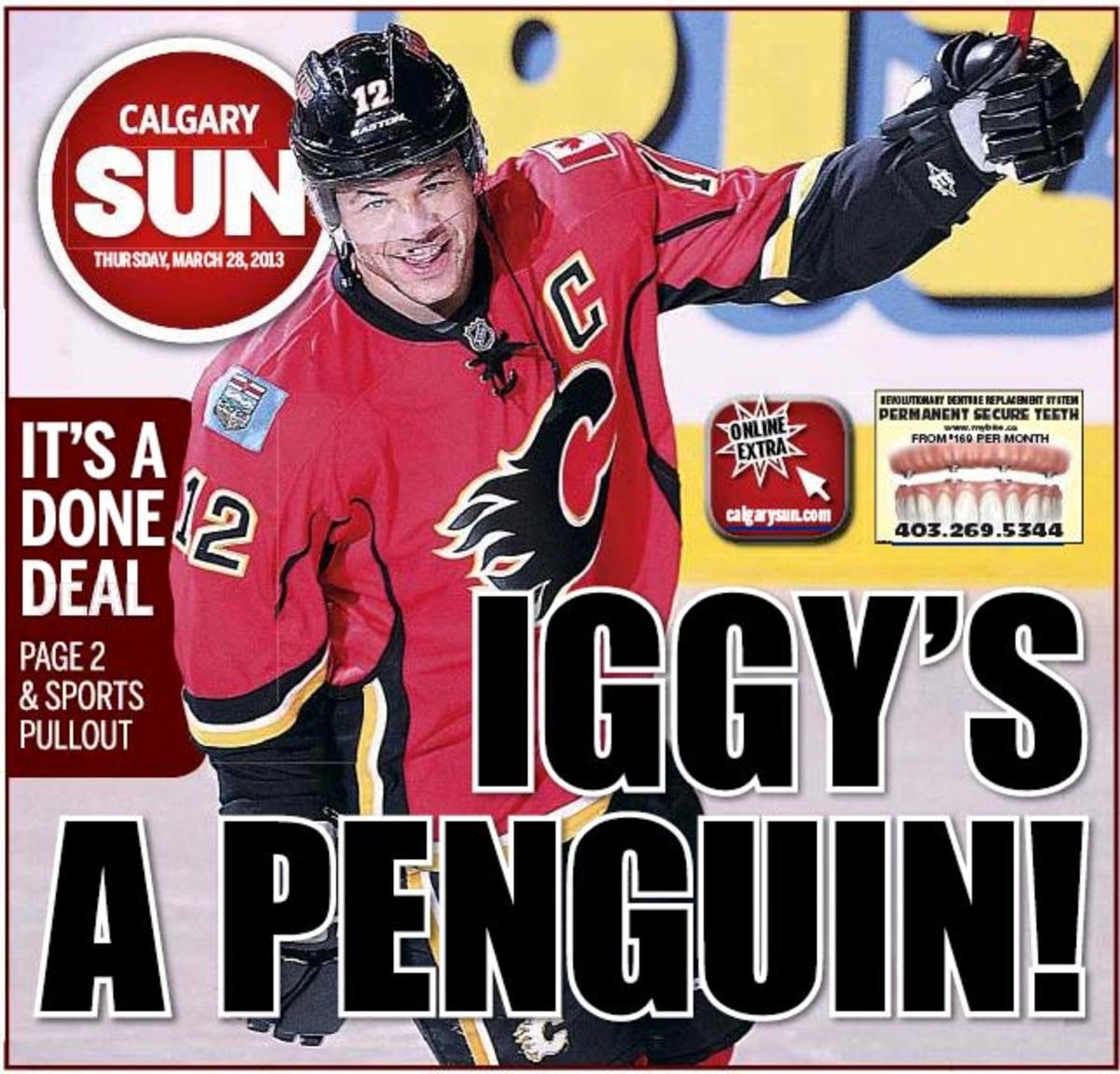 The Calgary Sun's front page headline about the Jarome Iginla trade.