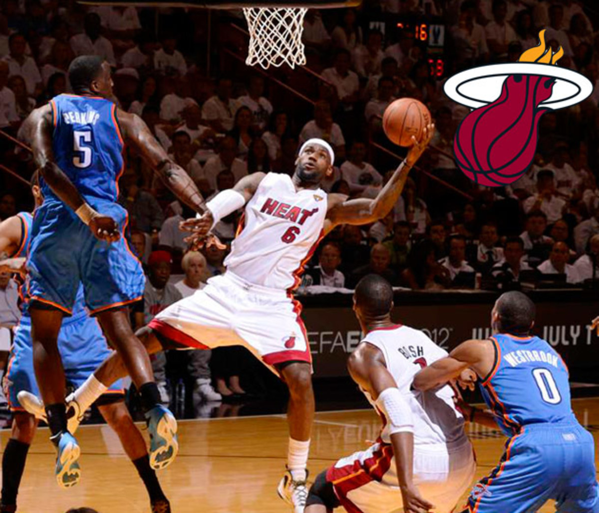 LeBron James goes up for a layup