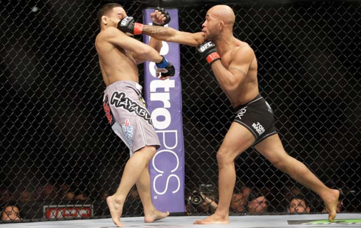 Demetrious Johnson (right) defeated John Dodson during their main event flyweight bout in January.