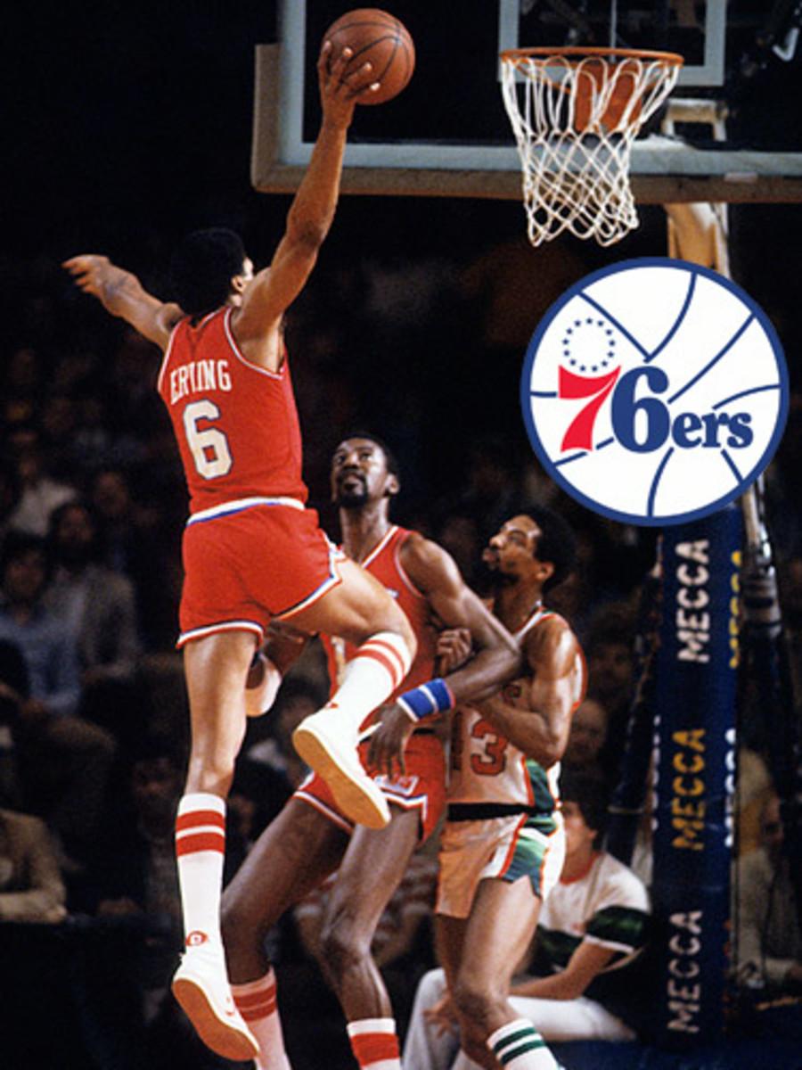 Julius Erving dunks on the Bucks