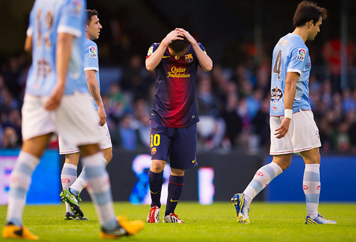 Lionel Messi scored in his 19th straight game but Barcelona only managed a draw against Celta Vigo.