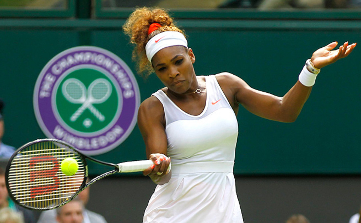 Serena Williams dominated with her hard serve in a 6-1, 6-3 win over Mandy Minella in the first round at Wimbledon.