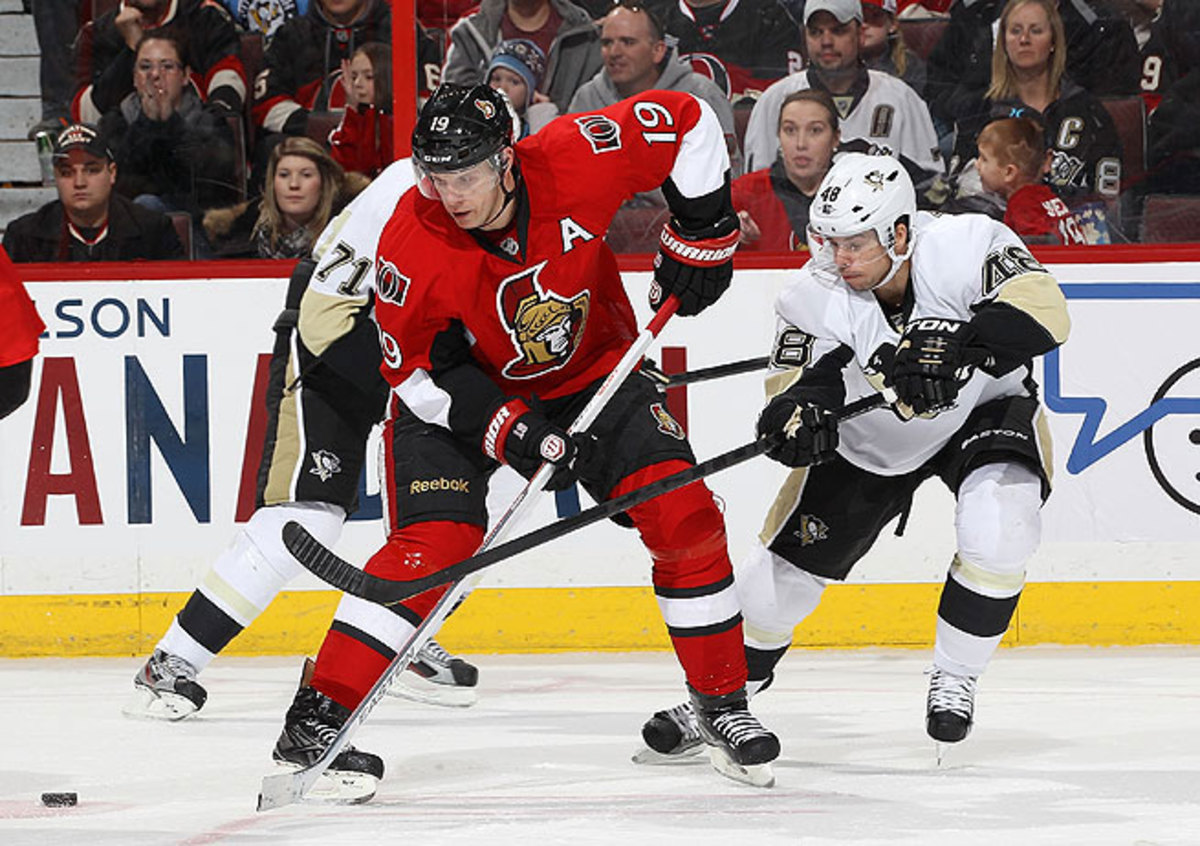Jason Spezza has not played in a game for Ottawa since being injured in late January.