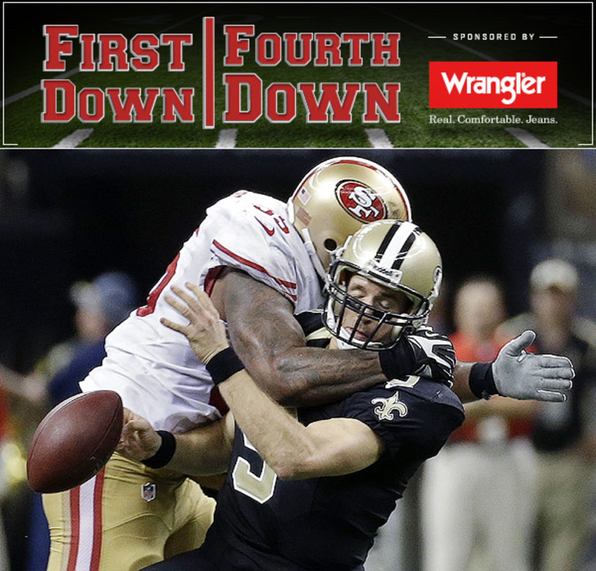 Ahmad Brooks (left) called the penalty on Drew Brees 'b.s.,' saying it cost the 49ers the game