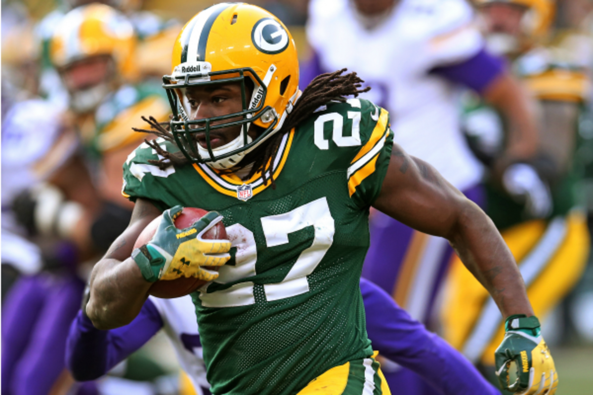 Eddie Lacy leads all rookies with 806 rushing yards. (Jonathan Daniel/Getty Images)