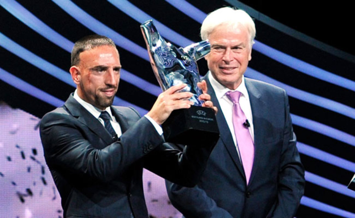 Franck Ribery earned 36 votes, compared to 13 for Lionel Messi and three for Cristiano Ronaldo.