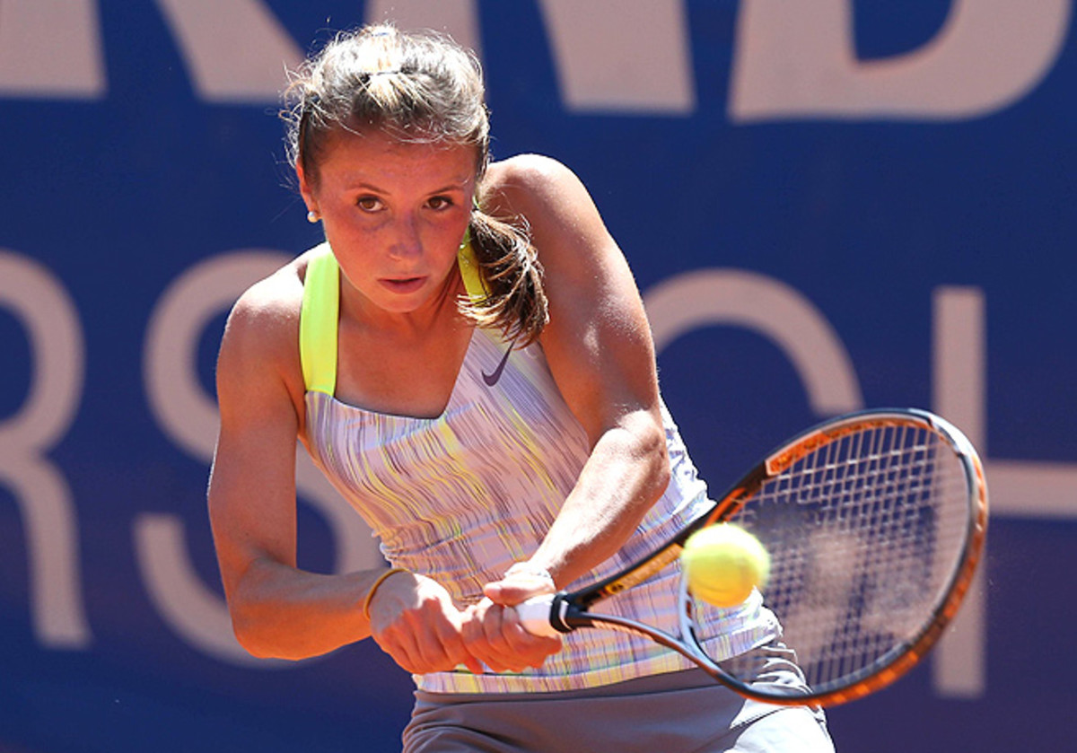 No. 2-seed Annika Beck came back from a set down to beat Mandy Minella 2-6, 6-4, 6-4.