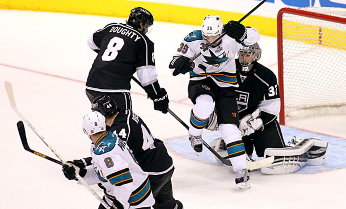 The San Jose Sharks play the Los Angeles Kings in Game 7