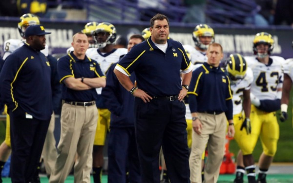 Michigan coach Brady Hoke has a 26-11 record in three seasons at the school. (Tasos Katopodis/Getty Images)