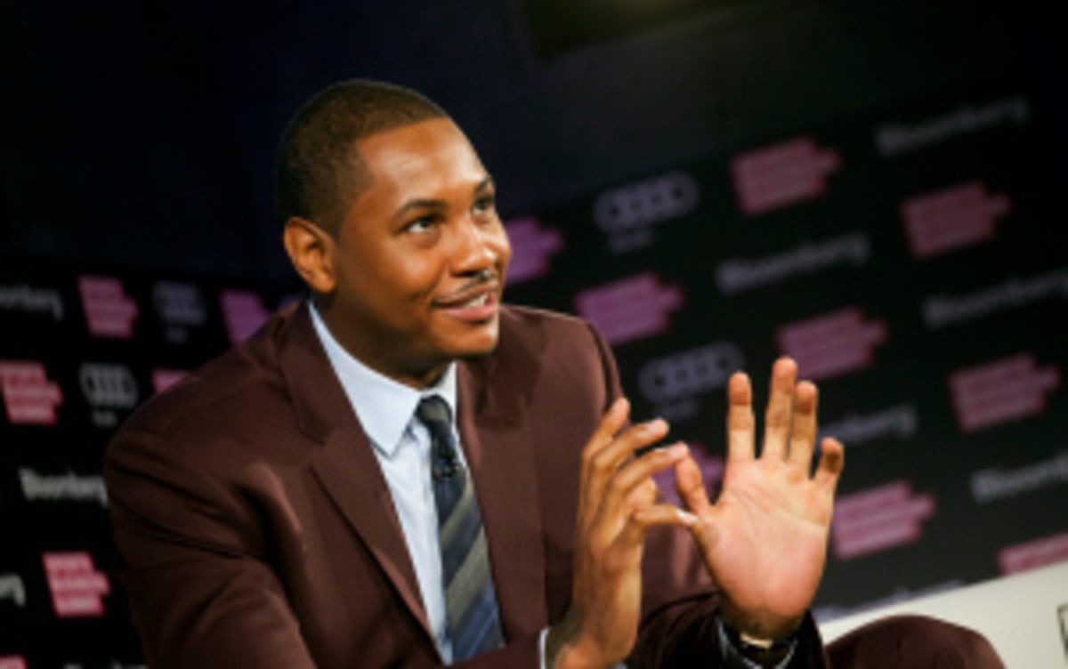 Knicks All-Star Carmelo Anthony said this week at a Bloomberg Sports Business Summit that he's 'not going nowhere' when he becomes a free agent next summer. (Bloomberg/Getty Images)