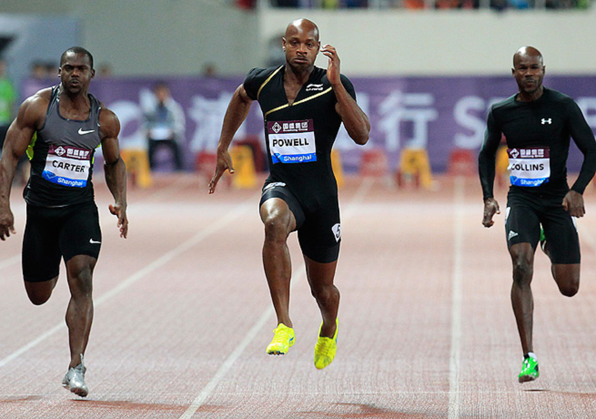 Asafa Powell (center) is just one of the Jamaican athletes who have had positive tests this year.