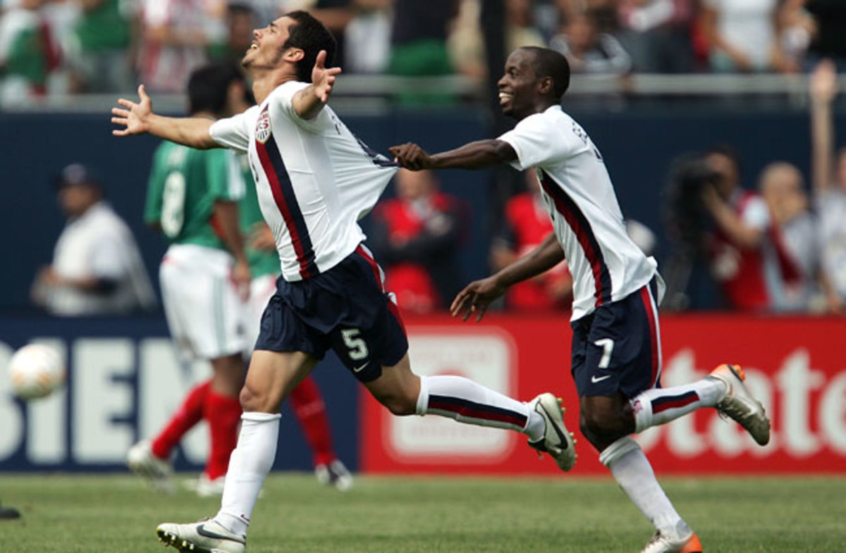 Benny Feilhaber celebrates after his 'golazo' helped the U.S. defeat Mexico in the 2007 Gold Cup final.