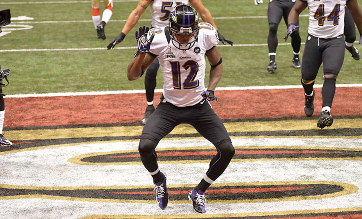 Jacoby Jones gained infamy for his touchdown dances last season with the Ravens.