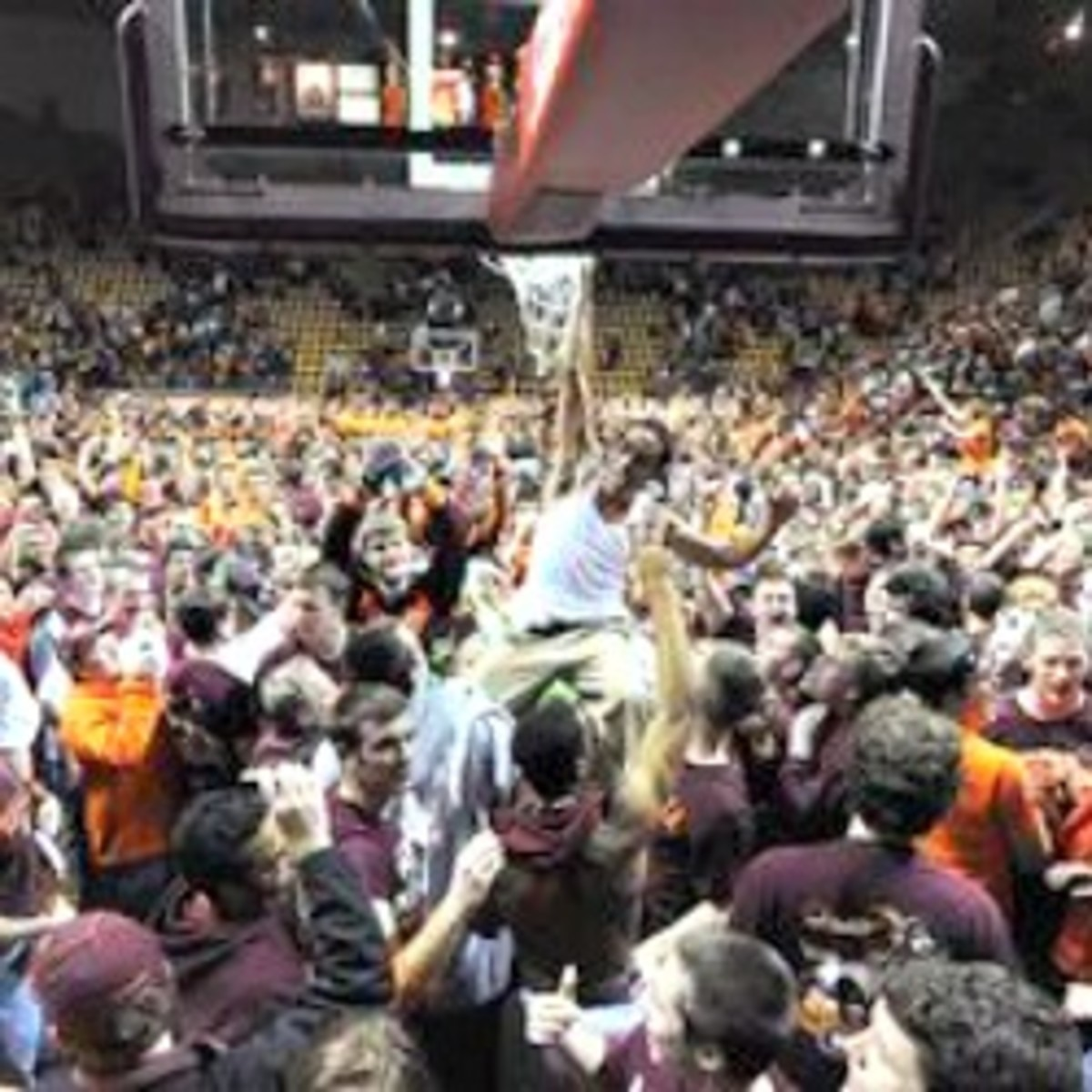 The ACC will discuss fans storming the court in May. (AP Photo/Don Petersen)