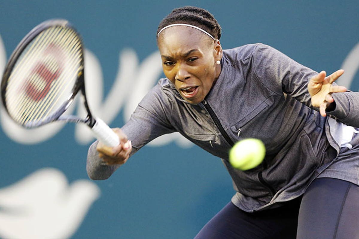 Venus dispatched Monica Puig Wednesday in Charleston, but heavy rains caused delays most of the Thursday.