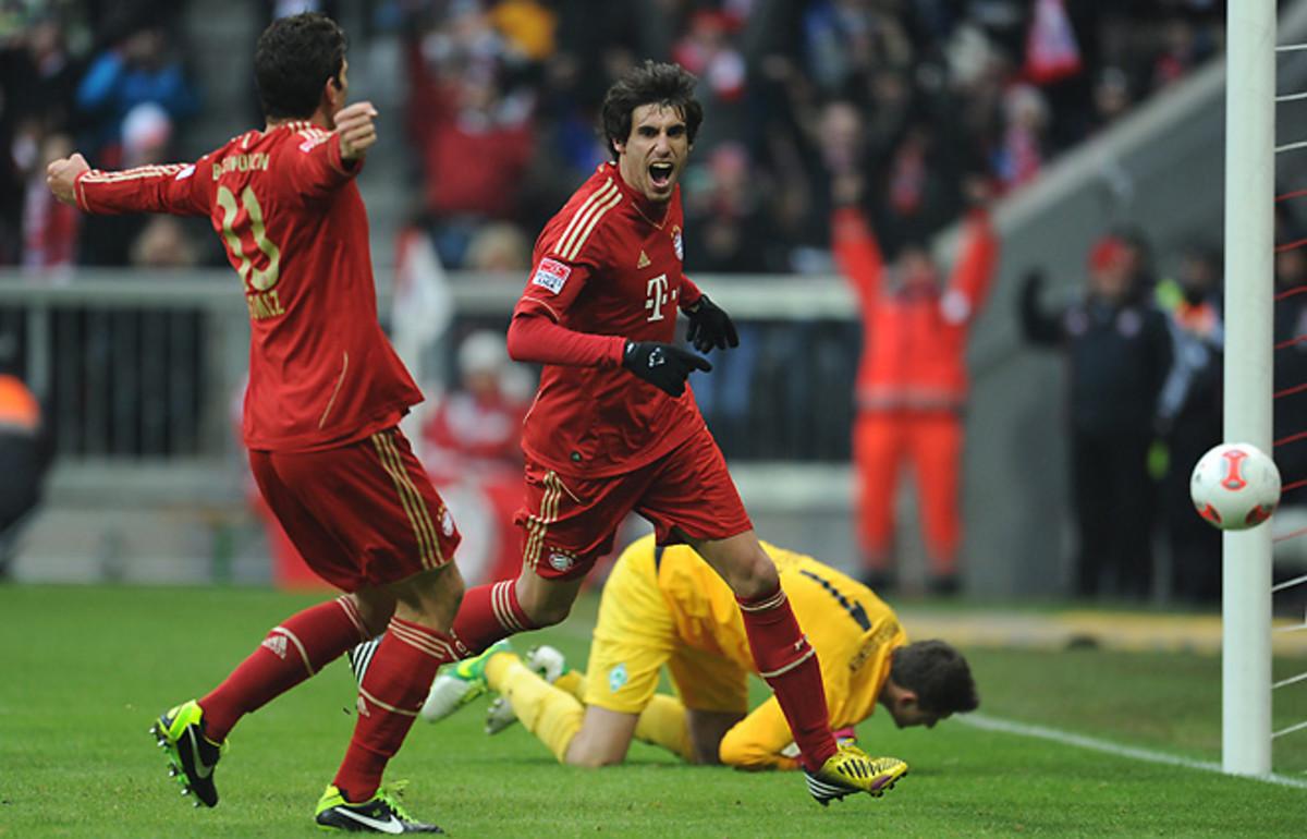 Bayern Munich's Javi Martinez celebrates his goal that put Bayern up 2-0 over Werder Bremen.