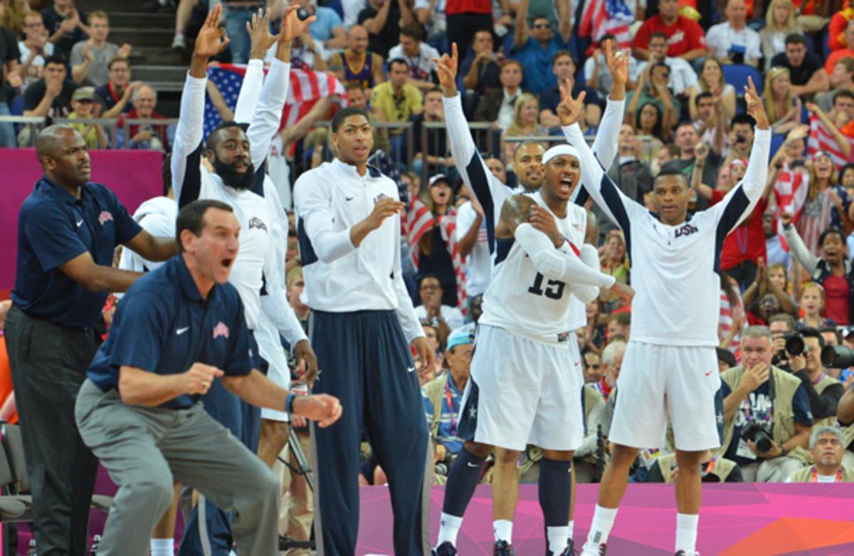 Mike Kryzwewski, front left, celebrates during the 2012 Gold Medal game. (Jesse D. Garrabrant/Getty Images)