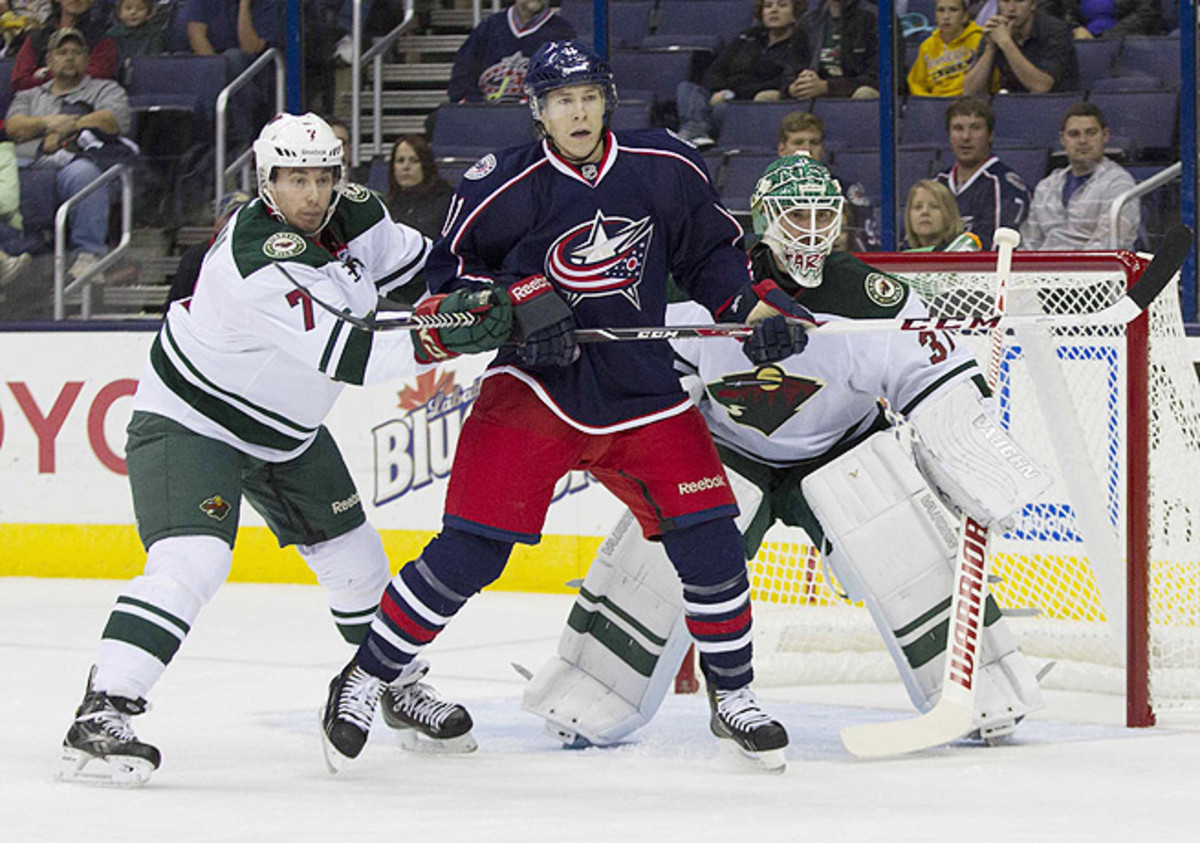 Matt Calvert had yet to register a point during three games with the Blue Jackets this season.