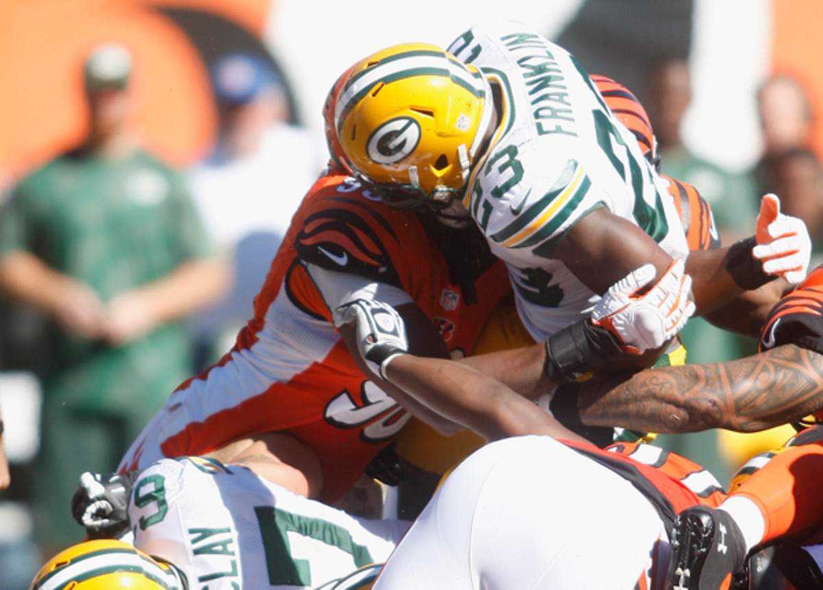 Green Bay Rookie Johnathan Franklin lost a key fumble against the Bengals on Sunday.
