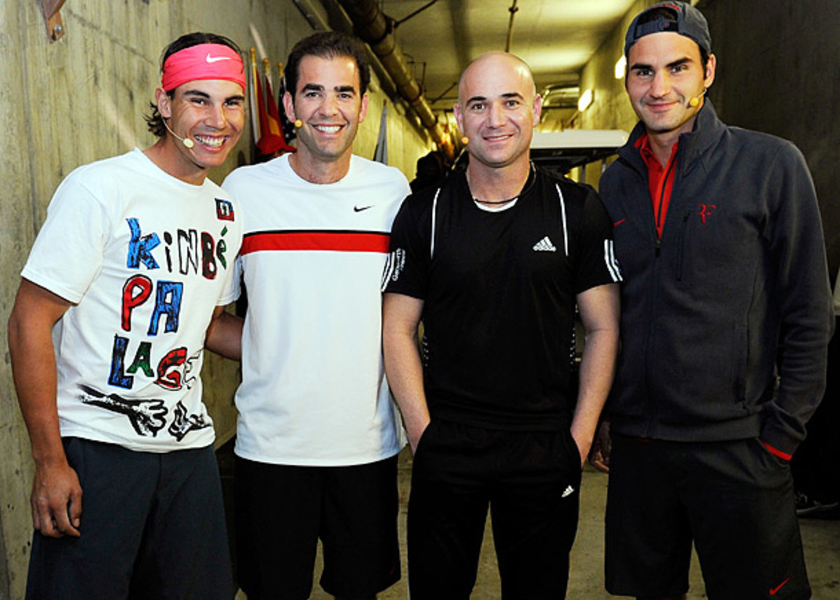 ATP greats (from left) Rafael Nadal, Pete Sampras, Andre Agassi and Roger Federer played an exhibition at Indian Wells in 2010. (Kevork Djansezian/Getty Images)
