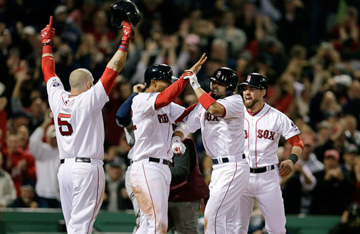 Shane Victorino's grand slam also scored fellow Red Sox newcomers Jonny Gomes and Xander Bogaerts; all three have been crucial for Boston in October.