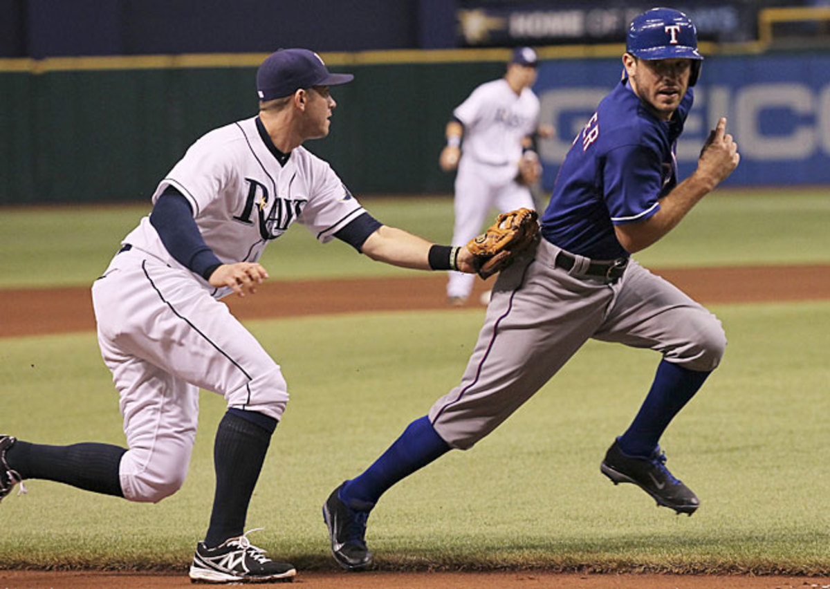 Ian Kinsler and the Rangers have lost seven straight and been run down by the Rays for the wild-card lead.