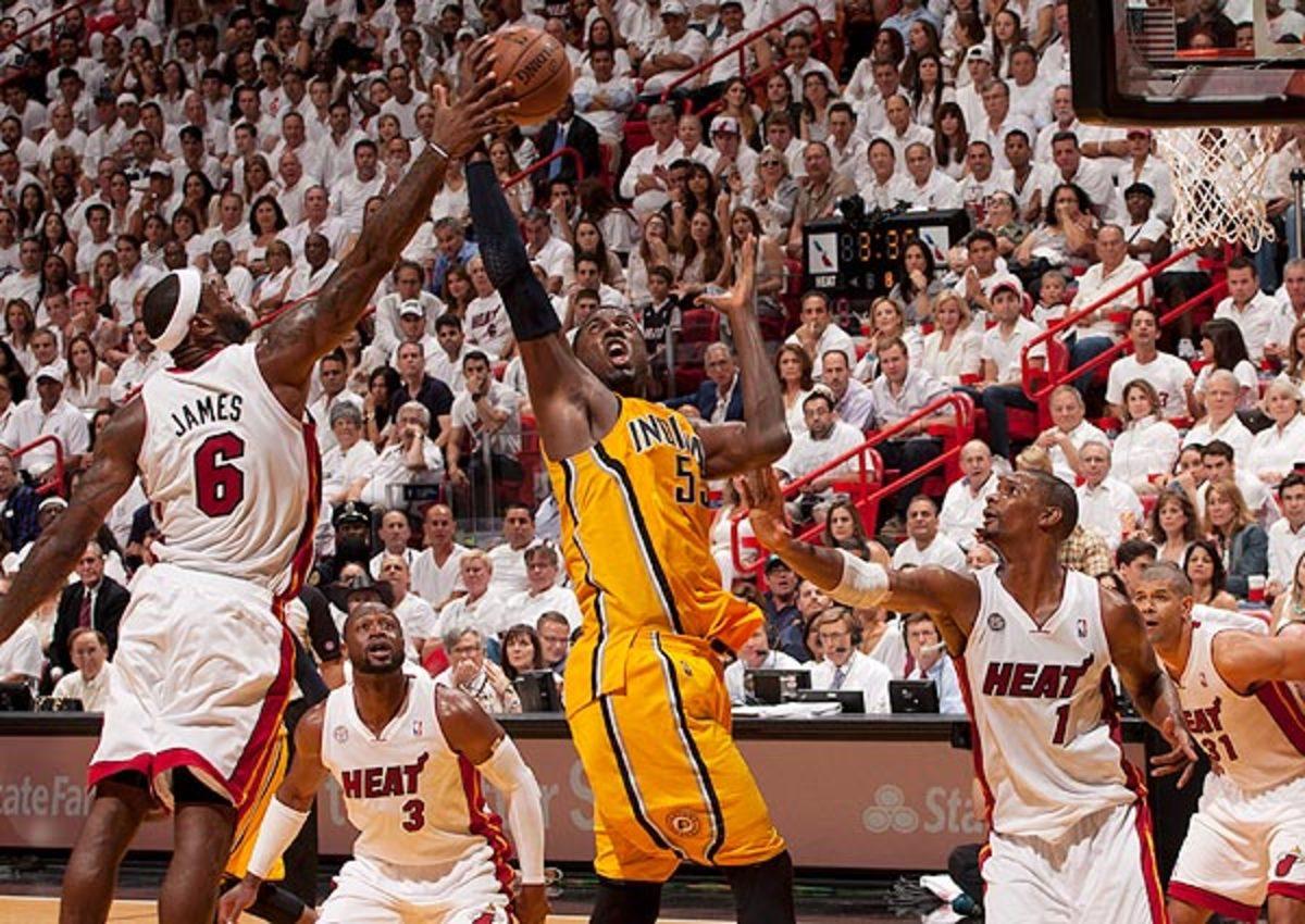 Roy Hibbert grabs a rebound against the Miami Heat