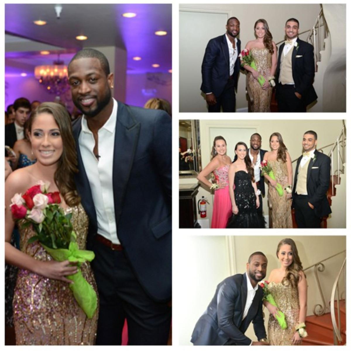 Dwyane Wade surprises a high schooler at her prom. (@dwyanewade on Instagram)